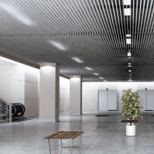 Реечный потолок пластинообразного дизайна